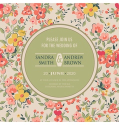 Wedding invitation with flowers pink vector