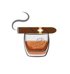 Whiskey with ice cubes and cigar vector image