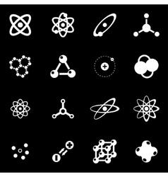 white atom icon set vector image