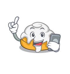 with phone cinnamon roll character cartoon vector image