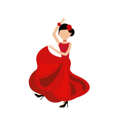 Woman dancing flamenco classic icon of spanish vector