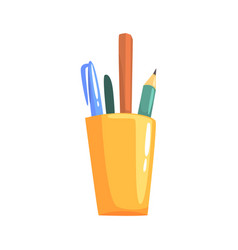 Yellow holder with pencils and pens office tools vector