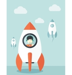 Young asian guy in side the rocket vector image