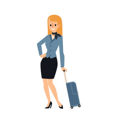 Young caucasian woman or blonde stewardess girl vector