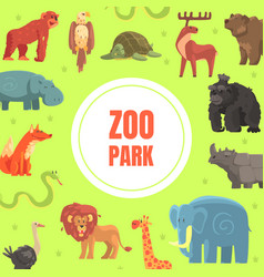 zoo park banner template with cute wild african vector image