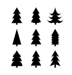 Simple silhouettes of Christmas trees vector image