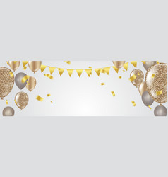 confetti and set ribbons bunch of birthday vector image