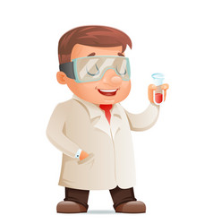 cute young scientist test-tube icon retro 3d vector image vector image