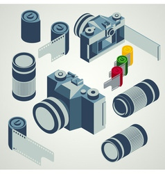 photo camera lens film element set vector image vector image