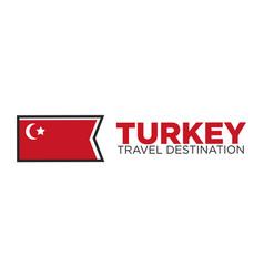 turkey travel destination words and flag vector image