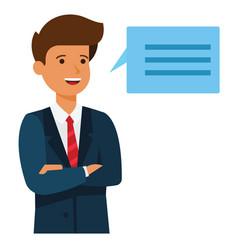 businessman brainstorm speech cartoon flat vector image