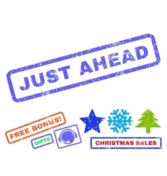 Just ahead rubber stamp vector