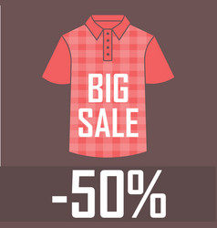 red checkered polo shirt on a red background with vector image