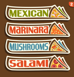 Set labels for italian pizza vector