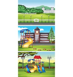 Different scenes with lawn vector image