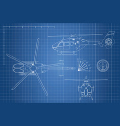 Engineering blueprint of helicopter vector