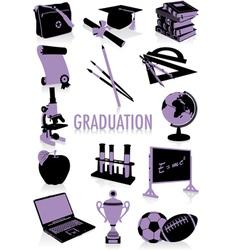 graduation silhouettes vector image