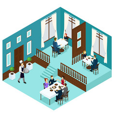 isometric restaurant dining room concept vector image vector image