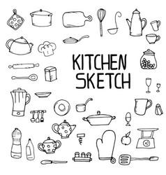 kitchen utensils sketch vector image