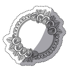 silhouette round emblem with roses icon vector image vector image