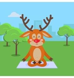 Yoga Exercises in City Park Cartoon Concept vector image