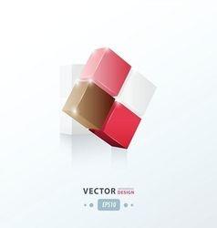 3D Cube twist love valentine style vector