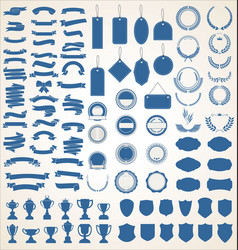 a blue collection various black ribbons tags vector image