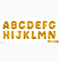 alphabet part 1 golden inflatable toy balloons vector image