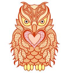 Amusing orange beaky owl vector