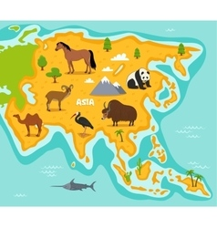 Asian map with wildlife animals vector image