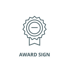 award sign line icon award sign outline vector image