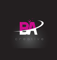 Ba b a creative letters design with white pink vector