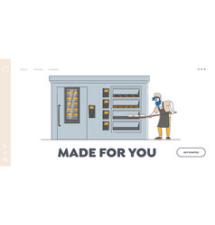 Bakery factory and bread production landing page vector