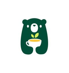 Bear cub baby tea cup logo icon vector