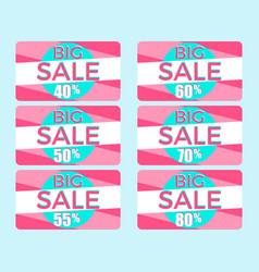 big sale set of gift cards at a discount shopping vector image