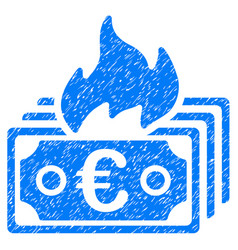 Burn euro banknotes icon grunge watermark vector