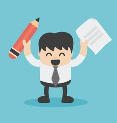 Businessman holding a pencil paper vector