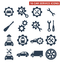 car service and repair icons set on white vector image