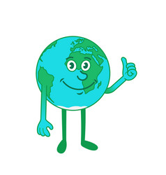 cartoon character earth showing thumb up sign vector image