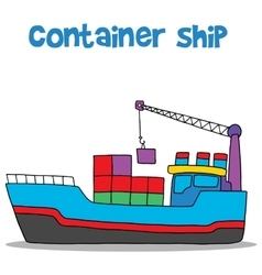 Cartoon of container ship vector image