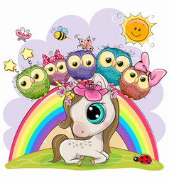 cartoon unicorn and five cute owls is sitting on vector image