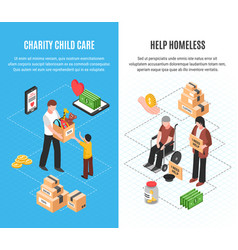 Charity isometric vertical banners vector