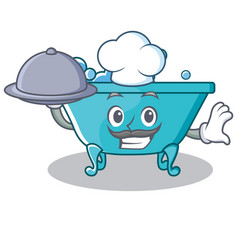 Chef bathtub character cartoon style vector