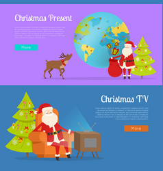 Christmas present and tv programme with santa vector