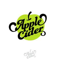 Cider logo lettering green apple emblem vintage la vector