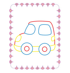 coloring book of cute red toy car vector image