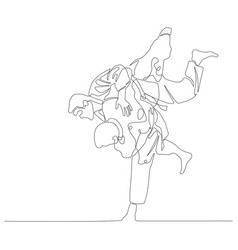 Continuous line drawing judoka makes a throw judo vector