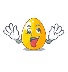 Crazy golden egg with cartoon shape reflection vector