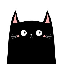 Cute black cat kitten kitty head silhouette icon vector