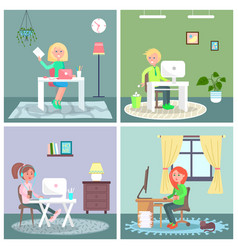 cute girl and boy sitting at a table with laptop vector image
